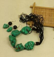 nugget necklace/earring set/ (z105-w2.5) dark green rustic turquoise hwolite
