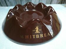 More details for vintage ceramic whitbread ashtray, large size, brown and gold, diameter 26.5 cm