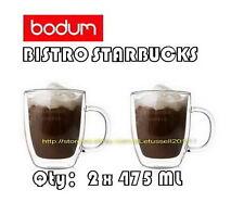 BODUM STARBUCKS LOGO BISTRO DOUBLE WALL JUMBO GLASSES MUGS CUPS x2 16OZ/475ML