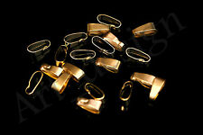 10 Golden Clip Bails Clasps 11x4MM For Settings Pendants