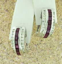 14k Solid White gold Natural Diamond Princess Cut Ruby Earring huggie 1.59 ct