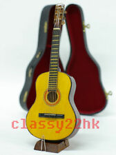 26CM MINI MINIATURE WOODEN GUITAR + BLACK CASE + STAND FOR DOLLHOUSE DOLL HOUSE
