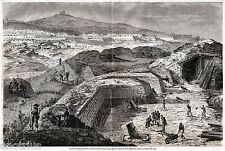Assedio di Gaeta: Batterie di Mortai Piemontesi. Grandissima. Risorgimento. 1860