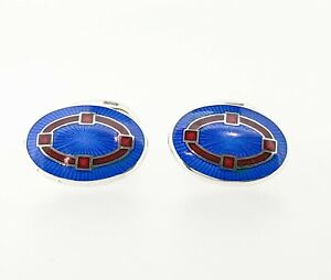 Deakin & Francis Sterling Silver Blue & Red Enamel Cufflinks