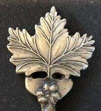 Maple Leaf (top) Vermont & Map (bowl) on Pewter Souvenir Spoon - pre-owned
