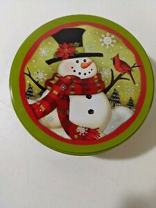 """Celebrate It Winter Holiday Christmas Snowman Cardinal Cookie Tin Container 6"""""""