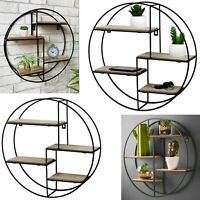 Vintage Retro Metal Round Wall Shelf Unit Industrial Style Storage Display Rack
