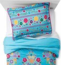 One Pillowfort Floral Fiesta Turquoise Pillow Sham Standard Size Pom Pom New