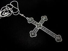 """A LOVELY BIG  CROSS/CRUCIFIX NECKLACE ON 18"""" SNAKE CHAIN. NEW."""