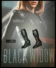 1/6 Hot Toys Captain America Black Widow Pair Of Black Boots MMS239 US Seller