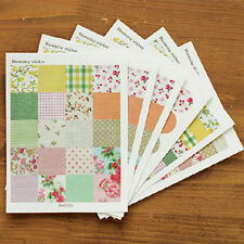 6 Sheet Diary Decorative Adhesive Vintage Colorful Blooming Stickers Craft Decal