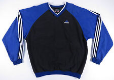 VINTAGE 90S ADIDAS BLACK & BLUE COLORBLOCK 3 STRIPED WINDBREAKER PULLOVER JACKET