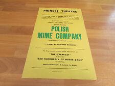 POLISH MIME COMPANY by Henryk Tomaszewski PRINCE Theatre Poster