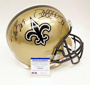 NFL New Orleans Saints DREW BREES JOE HORN Autographed Helmet w PSA/DNA COA