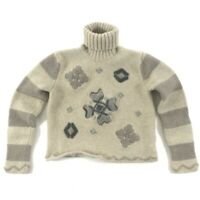 Eddie Bauer Turtleneck Sweater Women's Small Beige Cropped Lambs Wool Stripes