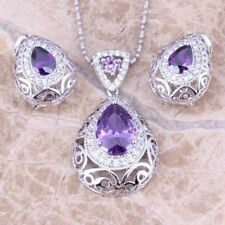 925 Silver Sterling Ruby Amethyst Sapphire Earrings+Ring+Necklace Jewelry Set