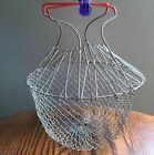 Vintage Collapsible Wire Egg Fruit Mesh Basket With Red Handles
