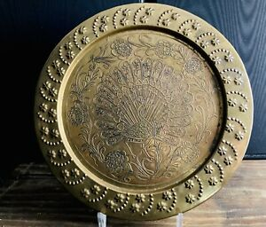 Vintage Brass Copper Hammered Peacock Floral Wall Art Tray