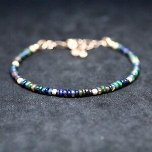 Natural Black Opal Bracelet 14K Rose Gold Filled , 12th 14th 34th Anniversary