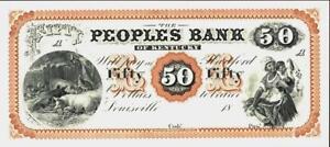 Kentucky Louisville $50 Dollars Obsolete Currency ca 1860 Proof - ABNC Reprint