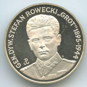 "GS442 - Poland 200 000 Zlotych 1990 Y#240 Silver General Stefan Rowecki ""Grot"""