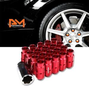 M12X1.25 Red JDM Open End Bulge Spline Wheel Lug Nuts+Lock Key 24mmx50mm 20Pc