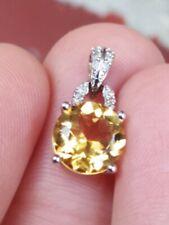 10ct White Gold Diamond And Citrine Pendant