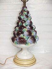Vintage Italian 50's Mid Century Ceramic Topiary Tree Table Lamp Fruit Plums