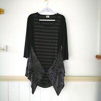 Womens TS Taking Shape Grey Black Stripe Top Plus Size M