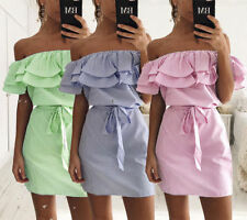 Women Summer Beach Mini Dress Ruffle Off Shoulder Party Clubwear DRESS size 6-10