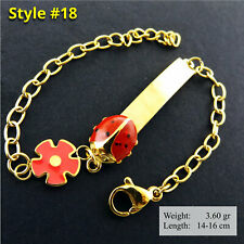 ID Bracelet Bangle 18K Yellow G/F Gold Children Kids Baby Ladybug Charm Design