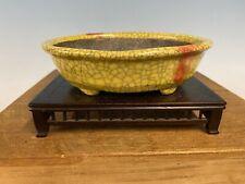 "Shohin Bonsai Tree Pot Made By Bunzan 5 7/8"" Yellow Crackle Glaze"