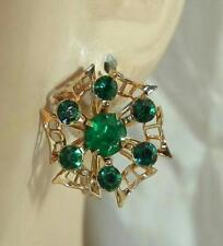 Nice Vintage 50's Emerald Green Rhinestone Deco Flower Screw Back Earrings 414N5