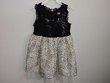 Le Pink Girls Dress Black White Roses Tulle Sequins Sparkle Fancy Party Layers 5