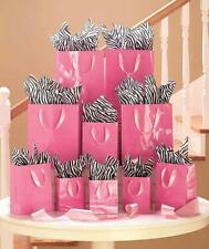 20-Pc Animal Print Tissue & Gift Bags Set Zebra & Pink Party Christmas Wrapping