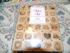 Super Set Dots Wood Base Rubber Stamps total 30