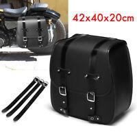 Left Side Motorcycle Saddle Bag Pannier Luggage PU Leather Universal 40x20x42cm