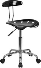 Vibrant Black Swivel Office Task Chair with Tractor Seat and Chrome Metal Base