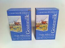 Crabtree & Evelyn Goatmilk Triple Milled Soap w/ Milk Protiens Goat Goats 2 Bars