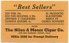 1890s DENVER CO NILES & MOSER CIGAR CO TRADE CARD, + PRICES, NOW ON SALE  TC1453