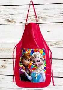 Frozen Anna & Elsa Girls Pink Vinyl Apron Cooking Crafts Handmade