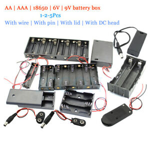 DIY Battery AA AAA 18650 Holder Case Box Base 6/9V Volt with Bare Wires Shell