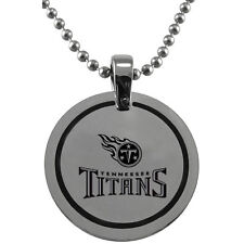 NFL  Tennessee Titans Stainless Steel  Round Logo Pendant Disc w/ Chain