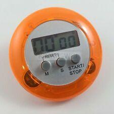 LCD Digital Kurzzeitmesser Eieruhr Küchenuhr Countdown + Clip Rund (Orange)