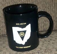 US Army 83rd logo ARCOM Ohio CERAMIC BLACK COFFEE CUP MUG Veteran USA MILITARY v