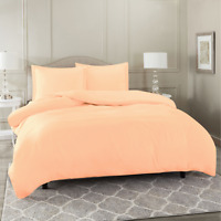 Duvet Cover Set Soft Brushed Comforter Cover W/Pillow Sham, Peach - Queen