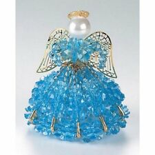"Safety Pin and Bead Birthstone Angel Kit - DECEMBER  - ZIRCON Blue - 4"" Tall"