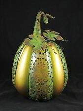 QVC Home Reflections Ceramic Flameless Candle Harvest Pumpkin Luminary H200637