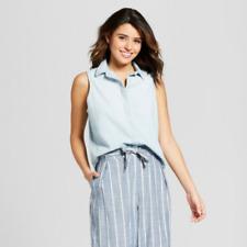 b12e3603c71 Universal Thread Womens Western Denim Sleeveless Shirt Size Large