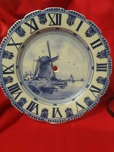 "Vintage Hand Painted Clock Plate Delft Blue 11"" ( Needs Clock Parts)"